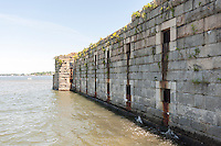 The historic Fort Totten Water Battery in Fort Totten in the Bayside neighborhood of Queens in New York on Sunday, June 15, 2014. Construction on the historic fort started in 1862 on Willet's Point overlooking the East River into Long Island Sound.   (© Richard B. Levine)