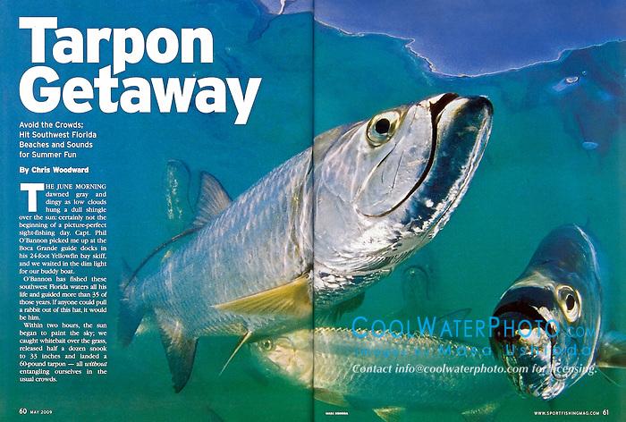 Sport Fishing Magazine, May 2009, double page, editorial use, USA, Image ID: Tarpon-Atlantic-0006