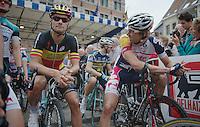 Tom Boonen (BEL) in his last appearance as the 2012 Belgian National Champion (next to Jurgen Van de Walle, BEL) at the start in Halle<br /> <br /> Halle - Ingooigem 2013<br /> 197km