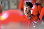 6 March 2012: Washington Nationals outfielder Bryce Harper in the dugout during a Spring Training game against the Atlanta Braves at Champion Park in Disney's Wide World of Sports Complex, Orlando, Florida. The Nationals defeated the Braves 5-2 in Grapefruit League action. Mandatory Credit: Ed Wolfstein Photo