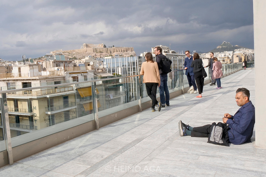 Athens, Greece. Opening days of documenta14.<br /> EMST, National Museum Of Contemporary Art. Panoramic view over the Acropolis from the rooftop.
