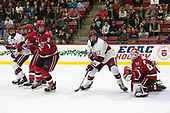 Devin Tringale (Harvard - 22), Eric Sweetman (SLU - 2), Ty Pelton-Byce (Harvard - 11), Kyle Hayton (SLU - 27) - The Harvard University Crimson defeated the St. Lawrence University Saints 6-3 (EN) to clinch the ECAC playoffs first seed and a share in the regular season championship on senior night, Saturday, February 25, 2017, at Bright-Landry Hockey Center in Boston, Massachusetts.