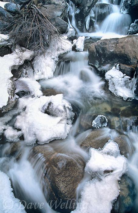 742900658 frozen in winter ice first falls below middle palisades glacier in the eastern sierras near big pine california
