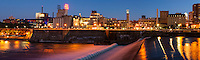 Downtown Minneapolis, Minnesota at night as seen across the Mississippi River.
