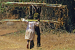 Young Children Carrying Cane