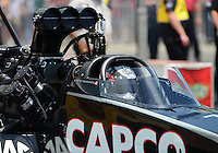 May 19, 2012; Topeka, KS, USA: NHRA top fuel dragster driver Steve Torrence during qualifying for the Summer Nationals at Heartland Park Topeka. Mandatory Credit: Mark J. Rebilas-