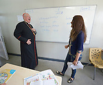 Cardinal Timothy Dolan, the archbishop of New York, visits a class of students displaced by war at the Al Bishara School run by the Dominican Sisters of St. Catherine of Siena in Ankawa, near Erbil, Iraq, on April 9, 2016. <br /> <br /> Dolan, chair of the Catholic Near East Welfare Association, is in Iraqi Kurdistan with other church leaders to visit with Christians and others displaced by ISIS. The Dominican Sisters were themselves displaced by ISIS, and have established schools and other ministries among the displaced.