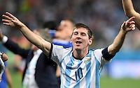 FUSSBALL WM 2014                HALBFINALE Niederlande - Argentinien       09.07.2014 Lionel Messi (Argentinien) jubelt ueber den Einzug ins Finale