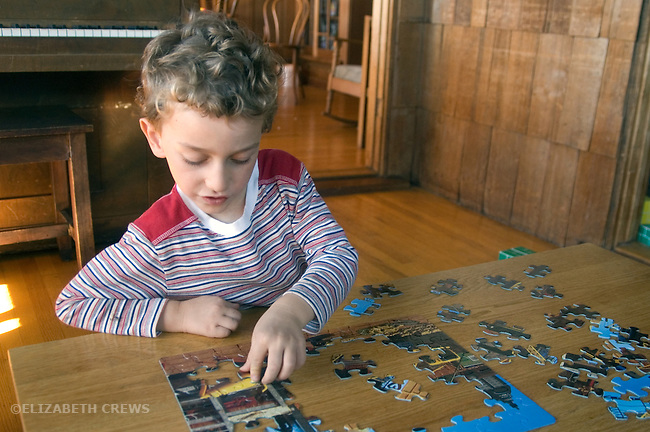 Berkeley CA Boy, four-years-old adept at doing multi-piece jig saw puzzle MR