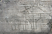 Petroglyph, rock carving, of a house on stilts. Carved by the ancient Camunni people in the iron age between 1000-1200 BC. Rock no 24, Foppi di Nadro, Riserva Naturale Incisioni Rupestri di Ceto, Cimbergo e Paspardo, Capo di Ponti, Valcamonica (Val Camonica), Lombardy plain, Italy
