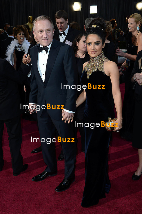 Salma Hayek and husband Francois Pinault arriving for the 85th Academy Awards at the Dolby Theatre, Los Angeles.