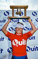 Layne Beachley (AUS) after winning the 1992 Quit Women's Classic, part of the Rip Curl Pro at Bells beach, Torquay, Victoria, Australia. Photo joliphotos.com