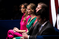 ST LOUIS, MO - OCTOBER 09: L-R) Republican presidential nominee Donald Trump's wife Melania Trump, daughter Ivanka Trump, son Eric Trump and son Donald Trump, Jr. attend the town hall debate at Washington University on October 9, 2016 in St Louis, Missouri.