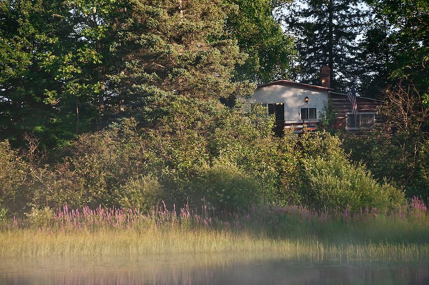 Republic Island Cottage from the Michigamme River near Republic Michigan.