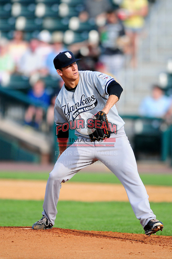 Staten Island Yankees starting pitcher James Kaprielian (56) during a game versus the Lowell Spinners at Lelacheur Park on August 22, 2015  in Lowell, Massachusetts .(Ken Babbitt/Four Seam Images)