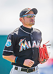 7 March 2016: Miami Marlins outfielder Ichiro Suzuki returns to the dugout during a Spring Training pre-season game against the Washington Nationals at Space Coast Stadium in Viera, Florida. The Nationals defeated the Marlins 7-4 in Grapefruit League play. Mandatory Credit: Ed Wolfstein Photo *** RAW (NEF) Image File Available ***