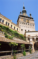 Sighisoara ( Segesvar ) clock tower above the gates to the medieval citadel. Transylvania, Romania