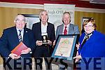 Killarney Mayor Brendan Cronin presents the Mon Hugh O'Flaherty humanitarian award to Fr Shay Cullen in the killarney Avenue Hotel on Saturday night front row l-r: Senator Paul Coughlan, Fr Shay Cullen, Brendan Cronin and Pearl Dineen