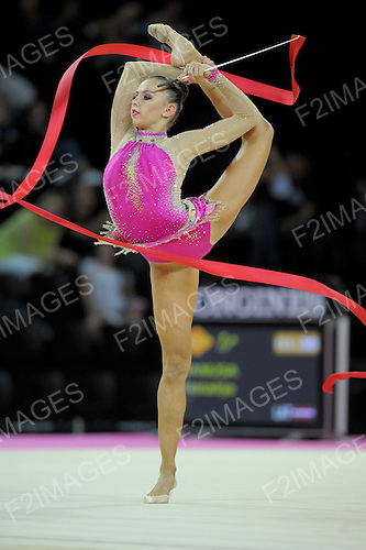 Rhythmic World Championships Montpelier France 21.9.11. Individual Competition ribbon &amp; Clubs..DMITRIEVA performing ribbon in the qualifications