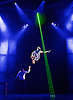 Impossible : West End  <br /> Premier<br /> at the Noel Coward Theatre, London, Great Britain <br /> Press photocall <br /> 28th July 2015 <br /> <br /> <br /> <br /> Jamie Allan levitation act with lasers and assistant Josephine Wormall <br /> <br /> <br /> <br /> Photograph by Elliott Franks <br /> Image licensed to Elliott Franks Photography Services