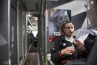 John Degenkolb (DEU/Trek-Segafredo)  prepping his race numbers to fit his skin suit<br /> <br /> pre-race preparations at the Team Trek-Segafredo bus<br /> <br /> 108th Milano - Sanremo 2017