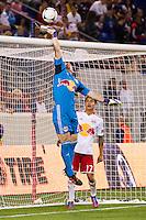 New York Red Bulls goalkeeper Bill Gaudette (88) pushes a shot over the bar. The New York Red Bulls defeated the Columbus Crew 3-1 during a Major League Soccer (MLS) match at Red Bull Arena in Harrison, NJ, on September 15, 2012.