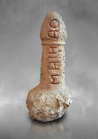 Roman erotic stone phallus  found in Pompeii,  Secret Museum or Secret Cabinet, Naples Archaeological Museum , grey art background