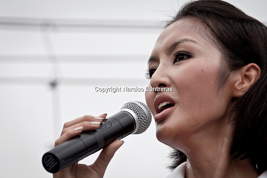 "YOLLANDA ""NOK"" SUANYOT gives a speech to voters in downtown streets as she stands for elections in northern Nan province, Thailand. Known formerly as a beauty queen, is running today a political campaign for the local rule of Nan city. 30-year-old Yollada Suanyot, who was born a male, has become the first transgender to register as an election candidate. The upcoming elections will be held on May 27th in 24 constituencies in 15 districts. In accord with the Thai media this is the first time in Thailand that a transgender is taking part in a provincial election.."