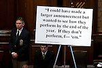 Senate staff displays wiretap quotes from Gov. Rod Blagojevich during his Senate impeachment trial. After four days of trial and closing arguments by Blagojevich himself, on Jan. 29, 2009 the Senate voted 59-0 to remove him from office..Kristen Schmid Schurter