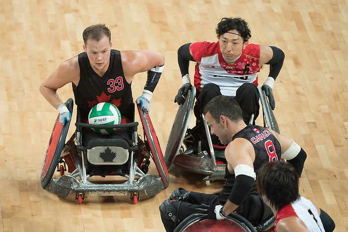 RIO DE JANEIRO - 18/9/2016: Canada vs. Japan in Wheelchair Rugby Mixed - Bronze Medal in the Carioca 1 Arena during the Rio 2016 Paralympic Games in Rio de Janeiro, Brazil. (Photo by Matthew Murnaghan/Canadian Paralympic Committee)