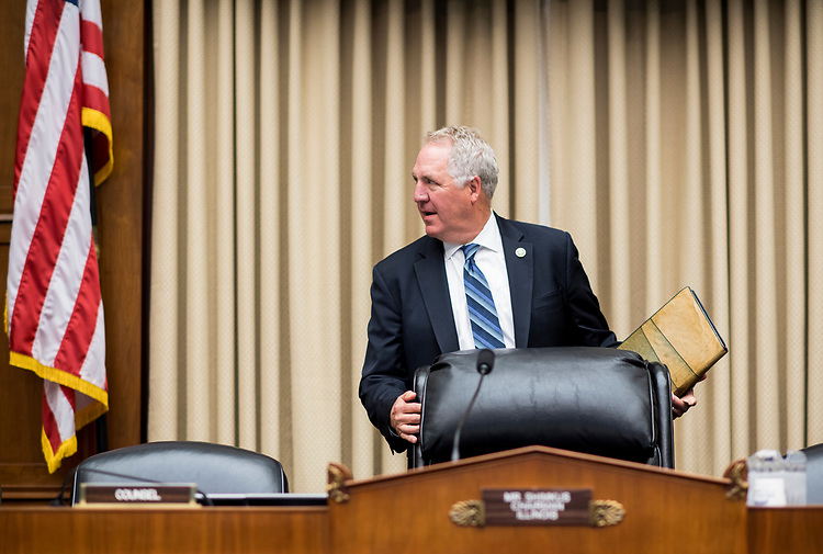 """UNITED STATES - APRIL 26: Rep. John Shimkus arrives to chair the House Committee on Energy and Commerce Subcommittee on Environment hearing on the """"Nuclear Waste Policy Amendments Act Of 2017"""" on Wednesday, April 26, 2017. (Photo By Bill Clark/CQ Roll Call)"""