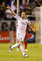 CARSON, CA - November 6, 2011: LA Galaxy midfielder Landon Donovan celebrates his goal during the match between LA Galaxy and Real Salt Lake at the Home Depot Center in Carson, California. Final score LA Galaxy 3, Real Salt Lake 1.