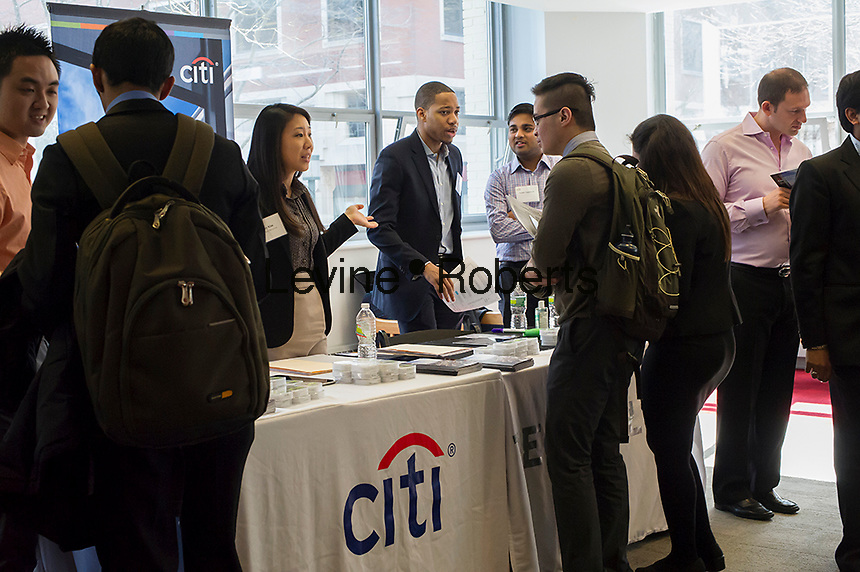 Engineers and applied science students attend the Citi job booth at the NYU-Poly Engineering and Technology Spring Career Fair at NYU-Poly in Brooklyn in in New York on February 28, 2013.  The US Labor Department reports new claims for unemployment benefits for last week dropped 22,000 to a seasonally adjusted 344,000.   © Frances M. Roberts)