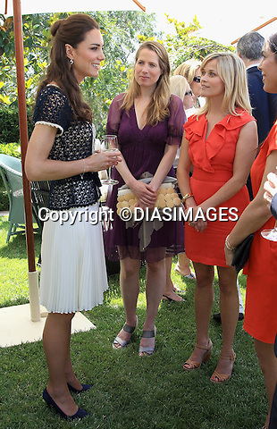 """PRINCE WILLIAM & KATE - CALIFORNIA, USA.Catherine, Duchess of Cambridge meets actress Reese Witherspoon as she attends a reception to mark the Launch of Tusk Trust's US Patron's Circle, Beverly Hills_10/07/2011.Mandatory Credit Photo: ©DIASIMAGES. .**ALL FEES PAYABLE TO: """"NEWSPIX INTERNATIONAL""""**..IMMEDIATE CONFIRMATION OF USAGE REQUIRED:.DiasImages, 31a Chinnery Hill, Bishop's Stortford, ENGLAND CM23 3PS.Tel:+441279 324672  ; Fax: +441279656877.Mobile:  07775681153.e-mail: info@newspixinternational.co.uk"""