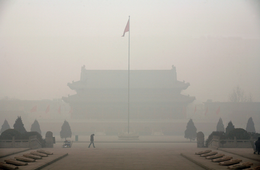 "A temple is shrouded in a polluted haze in China's ""most polluted city"" of Linfen in Shanxi province."