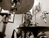 """Drummer with the """"Edge of Chaos Orchestra"""" recording at the Blue Coconut Club, Pulborough, West Sussex."""