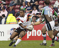 Twickenham, ENGLAND, Stanley Gene, passes the ball, as Lee Hopkins and Michael Worrincy move in to tackle, during the 'Engage Super league'  match, between Harlequins RL vs Bradford Bulls, at the Stoop, 13.05.2006. © Peter Spurrier/Intersport-images.com,  / Mobile +44 [0] 7973 819 551 / email images@intersport-images.com.