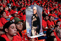 A young Venezuelan girl showing a poster of the Venezuelan revolutionary leader from the 18th century Francisco de Miranda during the summit of the social and political movement Frente Francisco de Miranda in Caracas, Venezuela, 29 June 2006. Frente Francisco de Miranda is a youth organization, with direct connection to the Venezuelan left-wing parties. Frente Francisco de Miranda claims to fight for poverty eradication and to reach social equality. The movement is protected by the President Hugo Chavez and is loyal to his Bolivarian Revolution ideology.