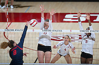 STANFORD, CA - October 14, 2016: Merete Lutz,Kelsey Humphreys,Tami Alade at Maples Pavilion. The Arizona Wildcats defeated the Cardinal 3-1.
