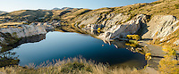 Evening Iight lookig down at the Blue Lake, St Bathans, Central Otago, New Zealand - stock photo, fine art, canvas print