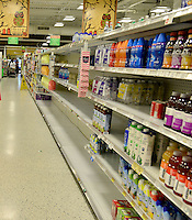 MIRAMAR, FL - OCTOBER 06: Empty water shelve inside at Publix supermarket in Miramar, Florida in preparation for the landfall of Hurricane Matthew on October 6, 2016 in Miramar, Florida. The hurricane is expected to make landfall sometime this evening or early in the morning as a possible category 4 storm.Credit: MPI10 / MediaPunch