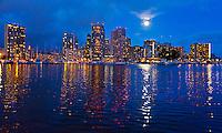 A supermoon rises over Waikiki, Honolulu, O'ahu.