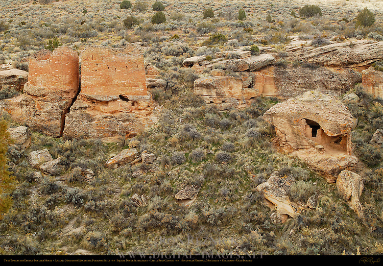 Twin Towers and Eroded Boulder House, Anasazi Hisatsinom Ancestral Puebloan Site, Square Tower Settlement, Little Ruin Canyon, Hovenweep National Monument, Colorado - Utah Border