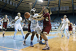 01 February 2015: North Carolina's Jamie Cherry (0) fights for a loose ball with Boston College's Martina Mosetti (ITA) (right) and Ashley Kelsick (behind). The University of North Carolina Tar Heels hosted the Boston College Eagles at Carmichael Arena in Chapel Hill, North Carolina in a 2014-15 NCAA Division I Women's Basketball game. UNC won the game 72-60.