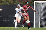 26 October 2014: Boston College's Allyson Swaby (10) and Duke's Kelly Cobb (left). The Duke University Blue Devils hosted the Boston College University Eagles at Koskinen Stadium in Durham, North Carolina in a 2014 NCAA Division I Women's Soccer match. Duke won the game 2-1 in overtime.