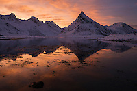 Winter sunrise over Volandstind, Flakstadøy, Lofoten Islands, Norway