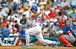 12 March 2008: Los Angeles Dodgers' infielder Ivan DeJesus fouls one off during a Spring Training game against the Washington Nationals at Holman Stadium, in Vero Beach, Florida. The Nationals defeated the Dodgers 10-4 at the historic Dodgertown ballpark. 2008 marks the final season of Spring Training at Dodgertown for the Dodgers, as the team will move to new training facilities in Arizona starting in 2009 after 60 years in Florida...Mandatory Photo Credit: Ed Wolfstein Photo
