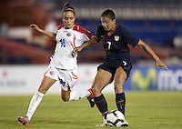 Katerine Alvarado of Costa Rica (left) against Shannon Boxx of USA (right). USWNT defeated Costa Rica 4-0 in the 2010 CONCACAF Women's World Cup Qualifying tournament held at Estadio Quintana Roo in Cancun, Mexico on November 1st, 2010.