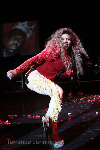 May 18, 2012 -New York, NY-United States:  Recording Hip Hop Artist/Actress Lil' Kim performs in concert as part of her ' Return of the Queen Tour ' held at Paradise Theater on May 18, 2012 in the Bronx, NY. Consistently recognized as a trailblazing Female MC, Lil'Kim has been a member of the clic, Junior MAFIA, headed by the late Notorious B.I.G. and has released 3 RIAA certified platinum albums to date.(Photo by Terrence Jennings)