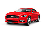 Red 2015 Ford Mustang sports car isolated on white background with clipping path
